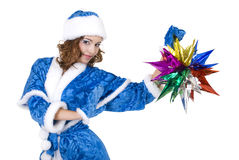 Girl in a Christmas costume Stock Photography