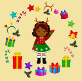 Girl with Christmas Costume and round frame. Stock Photos
