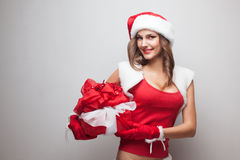 Girl in christmas costume Royalty Free Stock Photo