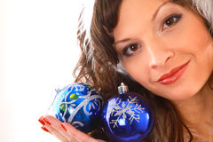 Girl with Christmas decoration Royalty Free Stock Image