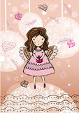 Girl and christmas decoration. Vector graphic card with nice angel girl  on pink background with christmas decoration Stock Photo