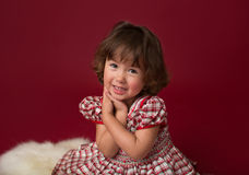 Girl in Christmas Dress, Outfit. Holiday Fashion Royalty Free Stock Photos