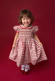 Girl in Christmas Dress, Outfit. Holiday Fashion Stock Images