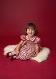 Girl in Christmas Dress, Outfit. Holiday Fashion Stock Photo