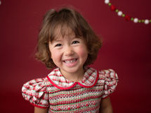 Girl in Christmas Dress, Outfit. Holiday Fashion Stock Photos