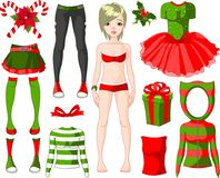 Girl with Christmas dresses Royalty Free Stock Image