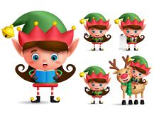 Girl christmas elf vector character set. Little kid elves with green costume. Singing christmas song and playing isolated in white background. Vector vector illustration