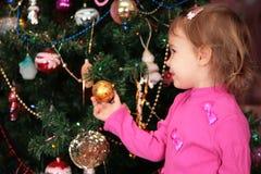 Girl and christmas fir Stock Photo