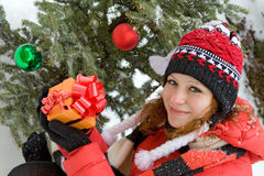 Girl with Christmas gift Stock Photo