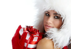 Girl with christmas gift Royalty Free Stock Image