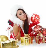 Girl with christmas gift Royalty Free Stock Photo