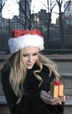 Girl with Christmas gift Stock Photography