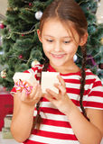 Girl and a Christmas Stock Photo