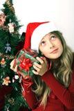 Girl with christmas gift stock photos