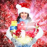 Girl with Christmas gift. Stock Images