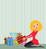 Girl and Christmas gift box Royalty Free Stock Photography