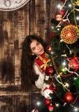 Girl with christmas gift box Stock Image