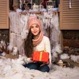 Girl with christmas gift box Stock Photos