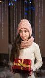 Girl with christmas gift box Royalty Free Stock Image