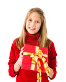 Girl with a Christmas gift Royalty Free Stock Image