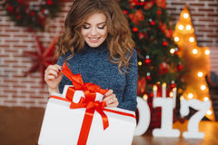 Girl with Christmas gift near beautiful dressed Christmas tree Royalty Free Stock Photography
