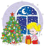 Girl and Christmas gift vector illustration