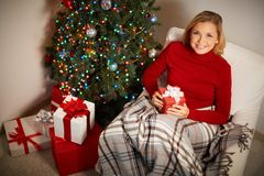 Girl with Christmas gift Stock Images