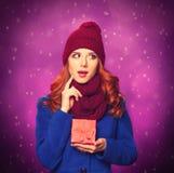 Girl with christmas gift royalty free stock photos