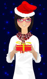 Girl with Christmas gift vector Stock Photography
