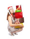 Girl with christmas gifts Royalty Free Stock Photography