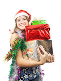 Girl with christmas gifts Royalty Free Stock Images