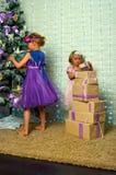 Girl and Christmas gifts Stock Photo