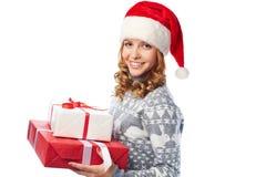 Girl with Christmas gifts Stock Photography