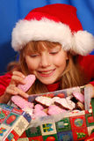 Girl and christmas gingerbreads Stock Photography