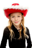 Girl with christmas hat Royalty Free Stock Images