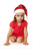 Girl in Christmas hat. Royalty Free Stock Photo