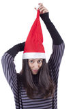 Girl with christmas hat Royalty Free Stock Photos