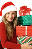Girl with christmas hat Royalty Free Stock Image