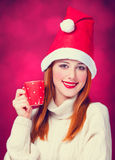 Girl in christmas hat Royalty Free Stock Photo