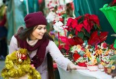 Girl at Christmas market Royalty Free Stock Photo
