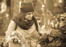 Girl at Christmas market Stock Image