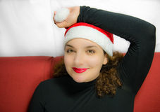Girl in christmas mood royalty free stock photo