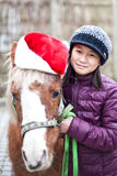Girl with a christmas-pony. Portrait of a cute young girl in the Winter, with her christmas-pony Royalty Free Stock Image