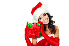 Girl with a Christmas present Stock Photography