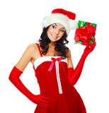 Girl with a Christmas present Royalty Free Stock Photos