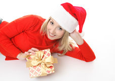 Girl with Christmas Present Stock Photography