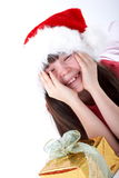 Girl and Christmas Present Stock Photography