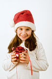 Girl with christmas present Royalty Free Stock Image
