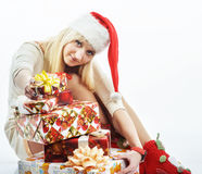 Girl with a Christmas present Royalty Free Stock Image