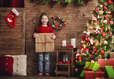 Girl with Christmas present Stock Images